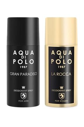 Aqua Di Polo 1987 Aynı Butikte 2. Ürün 1 TL 2'li Parfümlü Deodorant Seti Kadın Ve Erkek 300 Ml Stcc000901