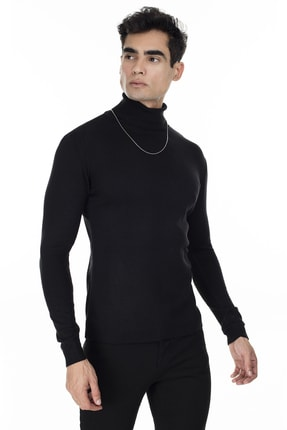 Buratti Erkek Siyah Balıkçı Yaka Slim Fit Triko Kazak 549T006
