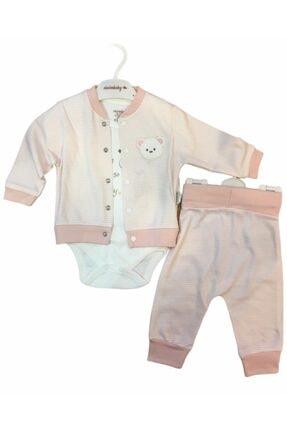 Ciccim Baby Kız Bebek Ayıcık Desenli 3'lü Takım