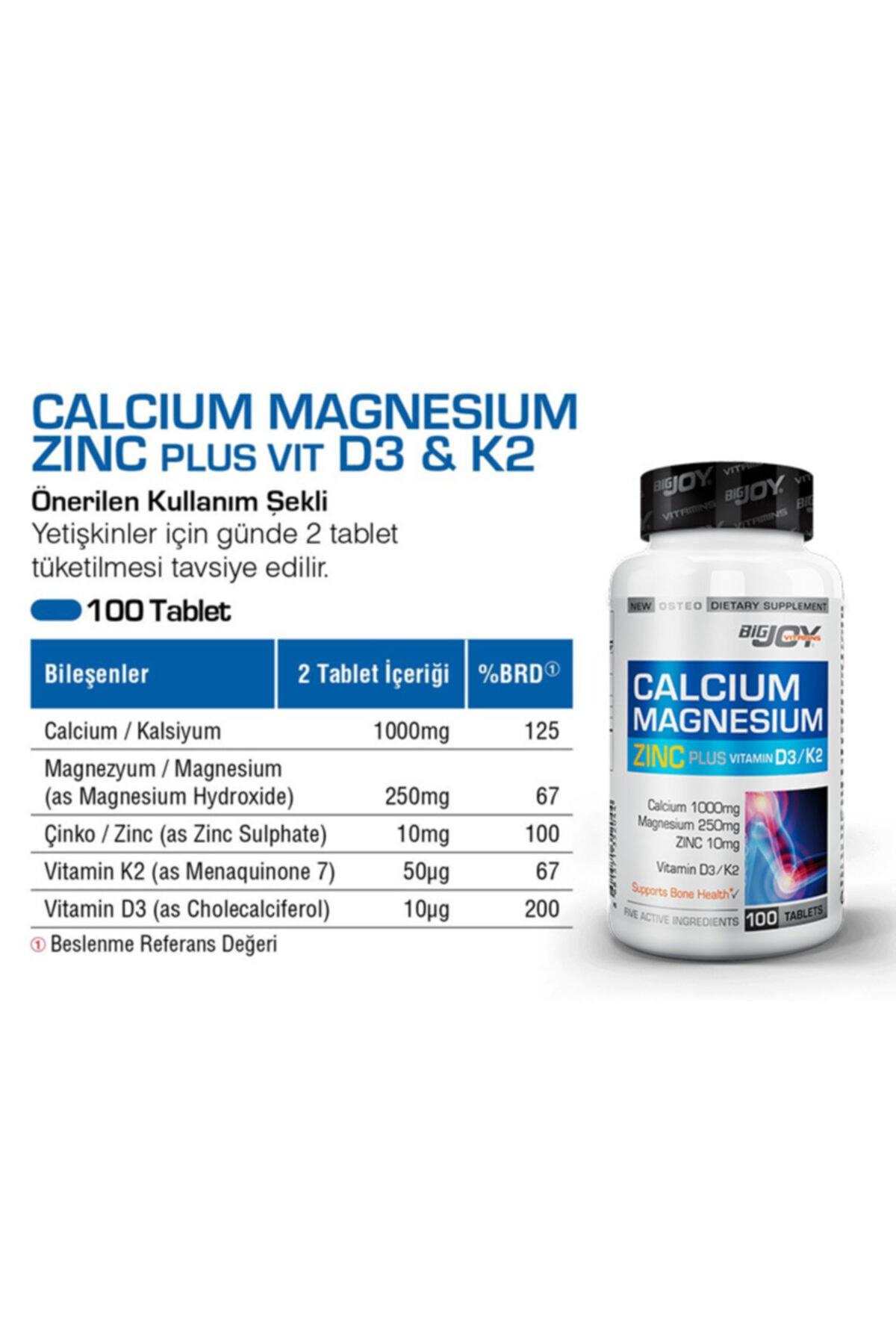 Big Joy Calcium Magnesıum Zınc Plus Vitamin D3 + Vitamin K2 100 Tb ( 2 Kutu ) 2