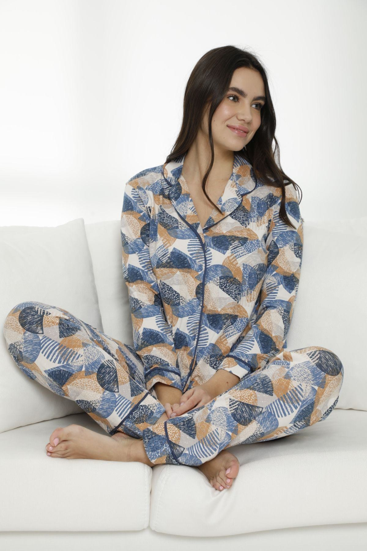 Siyah İnci Kadın Çok Renkli Pamuklu Likralı Düğmeli Biyeli Pijama Takım 1
