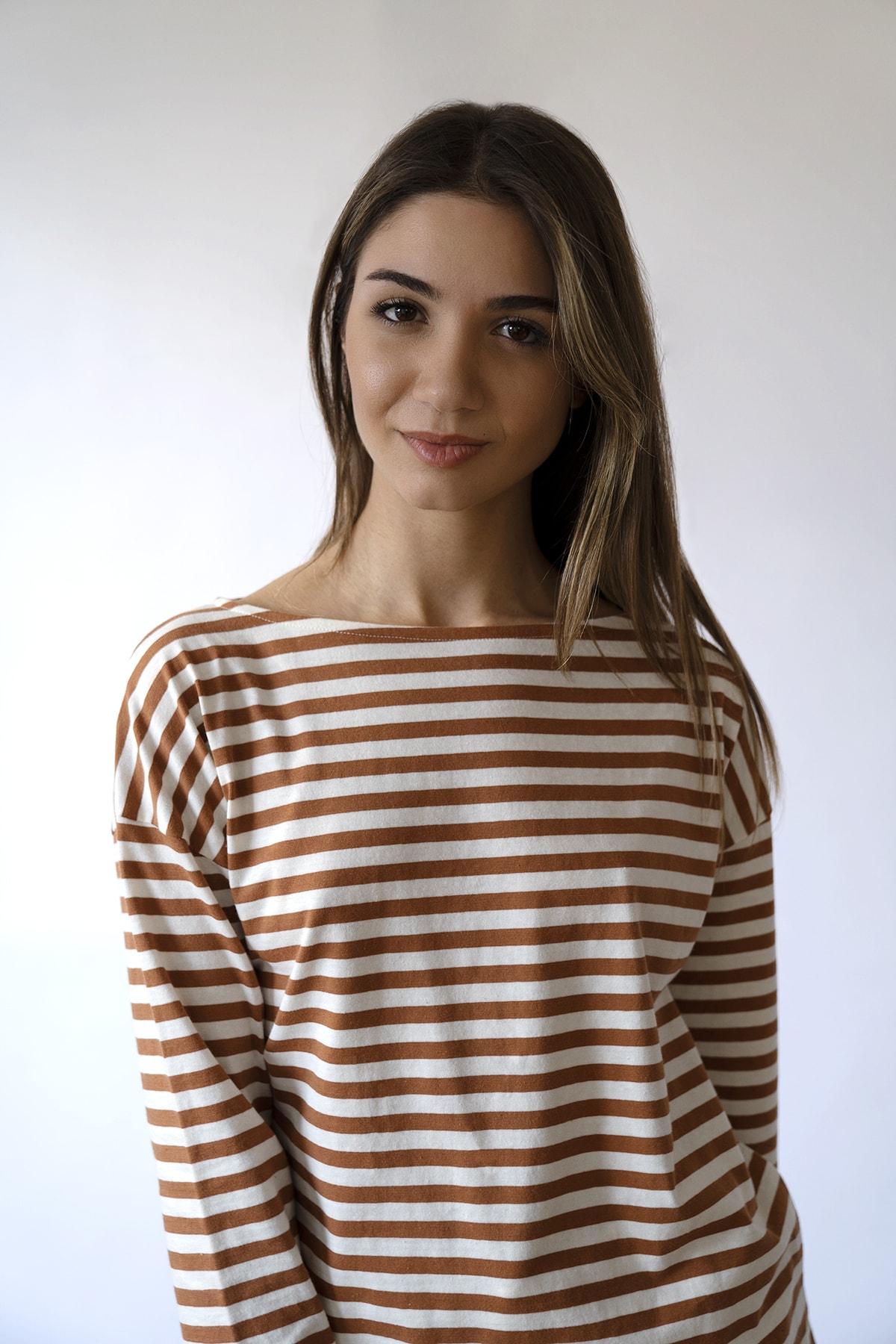 BeCasual Çizgili Uzun Kollu Kayık Yaka T-shirt 2
