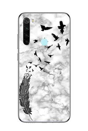 Dafhi Aksesuar Xiaomi Redmi Note 8 Tüy Ve Kuşlar Şeffaf Telefon Kılıfı