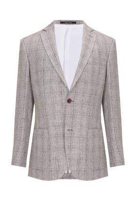 W Collection Erkek Bej Beyaz Ekoseli Ceket