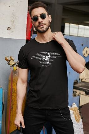 Sateen Men Siyah Kabartma Baskili T-Shirt