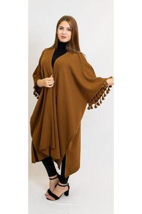 CNR TEKSTİL Kadın Camel Renkli Kolları Püskül Detaylı Panço