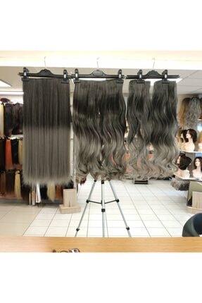 My Hair Türkiye Yarımay Çıtçıt Saç 4 Lü Set Fiber Sentetik Siyah Koyu Gri Ombre Renk Kodu-1-1001a