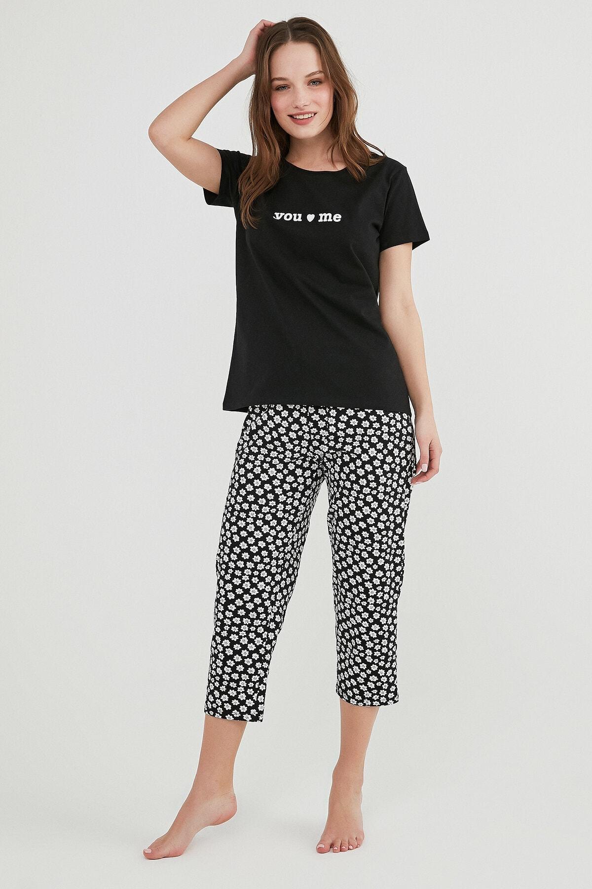Penti Kadın Siyah You And Me Kapri Pijama Takımı 1