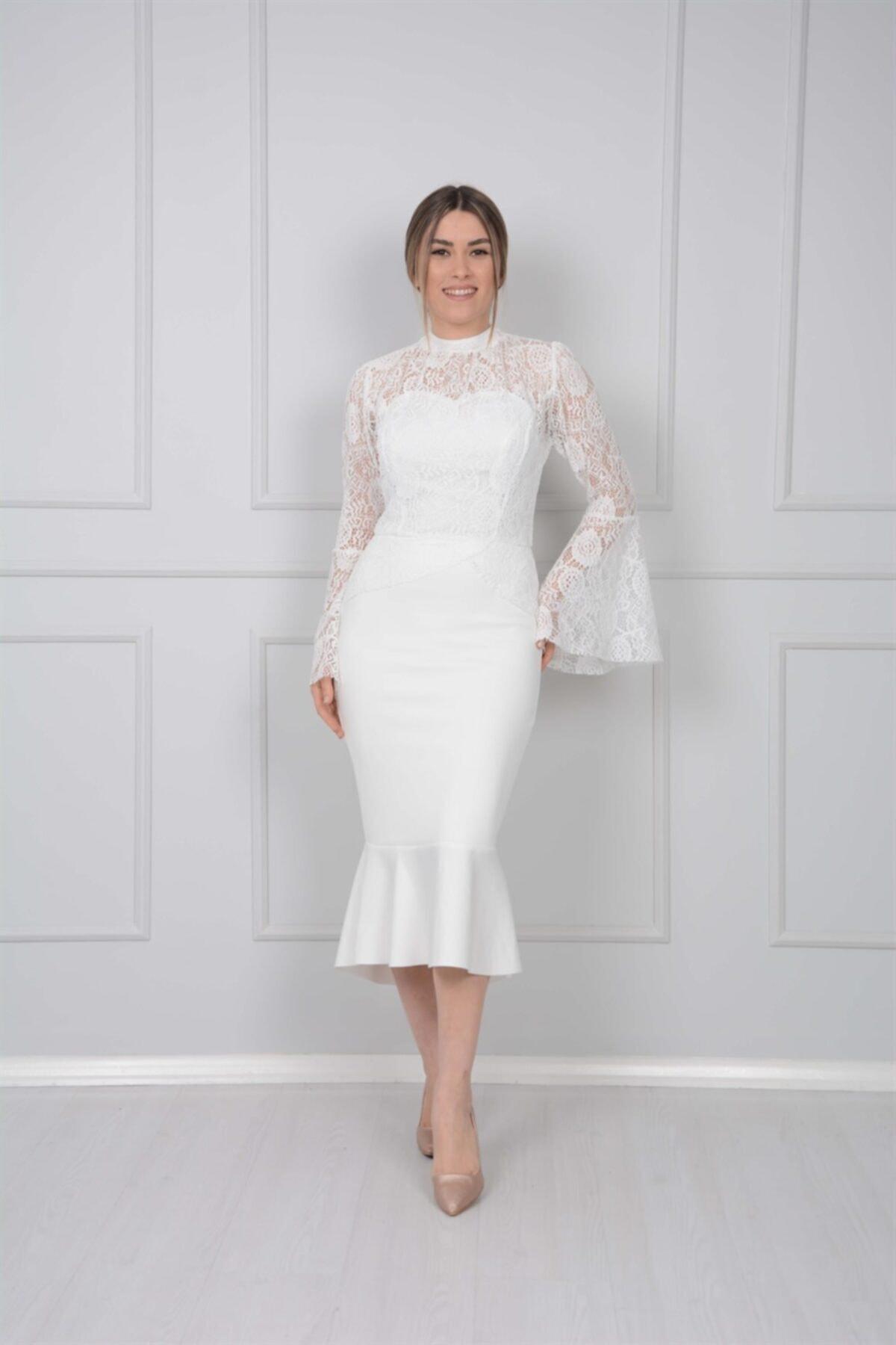 giyimmasalı Scuba Ve Güpür Detaylı Elbise - Beyaz 2