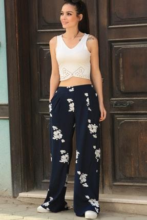 armonika Kadın Lacivert Desenli Bol Pantolon ARM-21Y001020