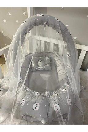 Jaju Baby Gri Panda Cibinlik Ve Oyuncak Askılı Lüx Tasarım Babynest