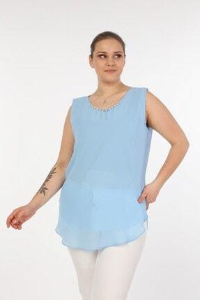 Womenice Kadın Mavi Sıfır Kol Yakası Incili Büyük Beden Bluz