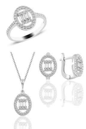 Söğütlü Silver Gümüş Rodyumlu Oval Gümüş Düz Baget Taşlı Üçlü Set