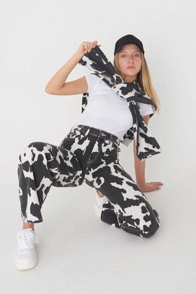 Addax Kadın Siyah Krem Desenli Pantolon Pn5224 - Pnd Adx-0000024143