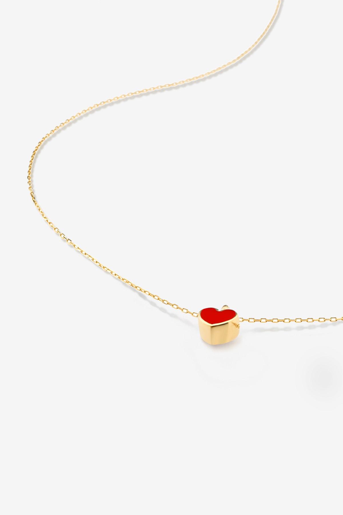 Gelin Pırlanta 14 Ayar Altın Mini Kırmızı Kalp Kolye 2