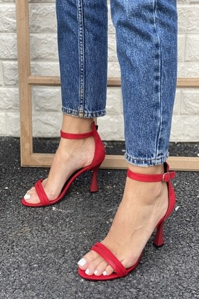 İnan Ayakkabı Kadın Kırmızı Bilekten Tokalı İki Bant Topuklu Ayakkabı
