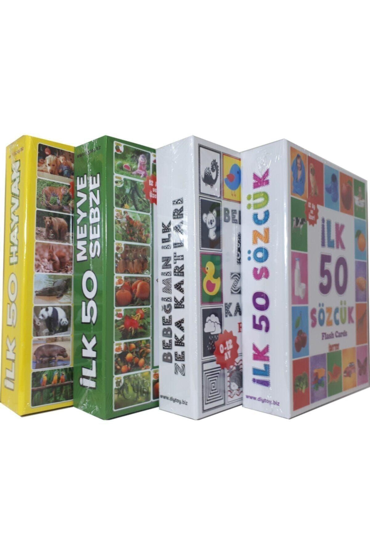 DIYTOY 4'lü Eğitim Seti ( Ilk 50 Sözcük + Ilk 50 Hayvan + Ilk 50 Sebze Meyve + Bebeğimin Ilk Zeka Kartları 1