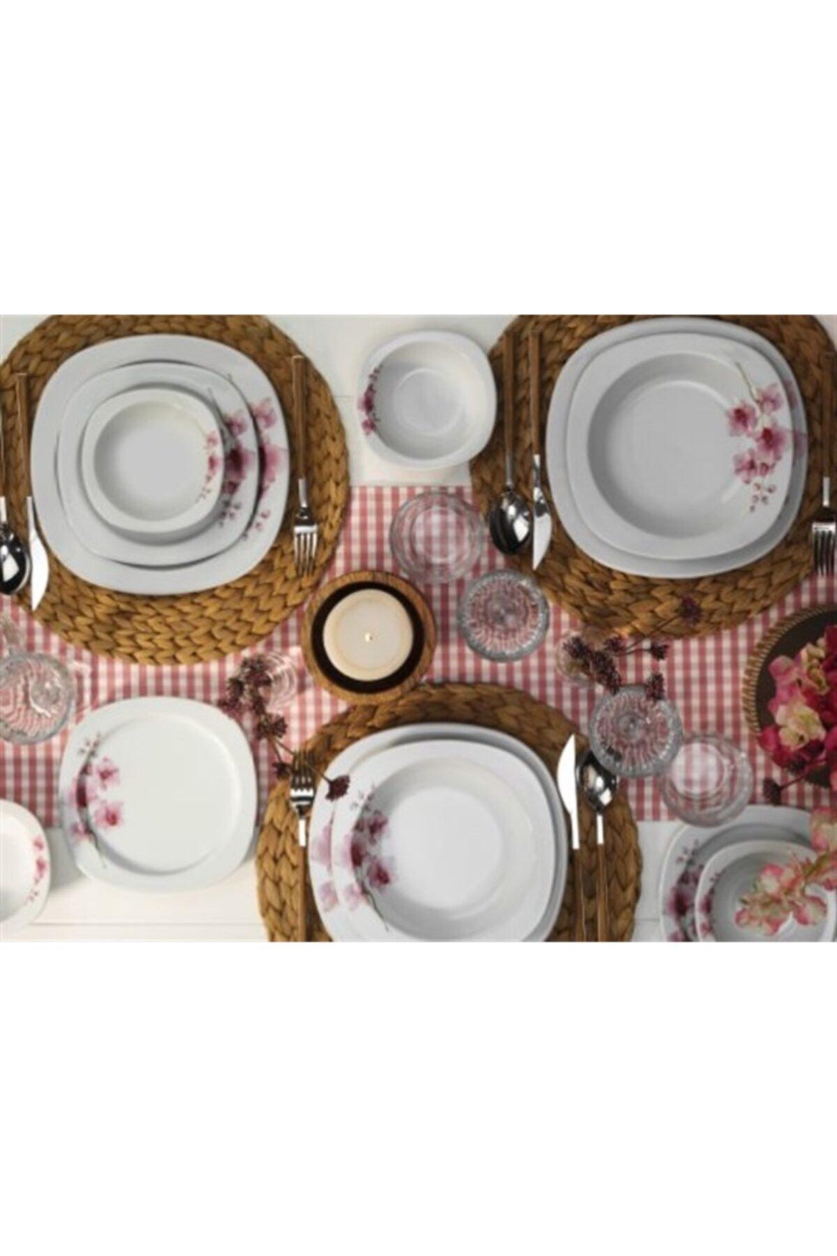 Kütahya Porselen Dekorlu Kare 48 Parça Yemek Takımı 1