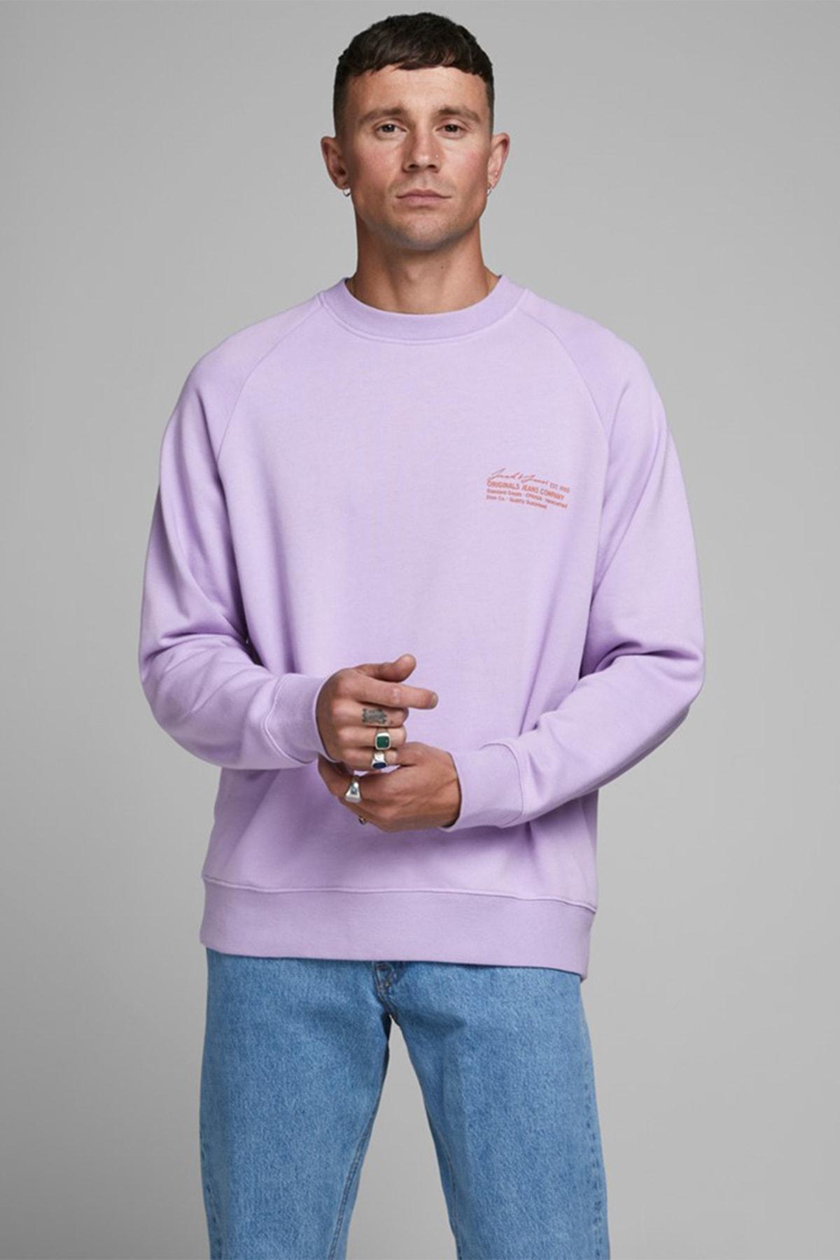 Jack & Jones Erkek Lavanta Crew Neck Sweatshirt 12180365 1