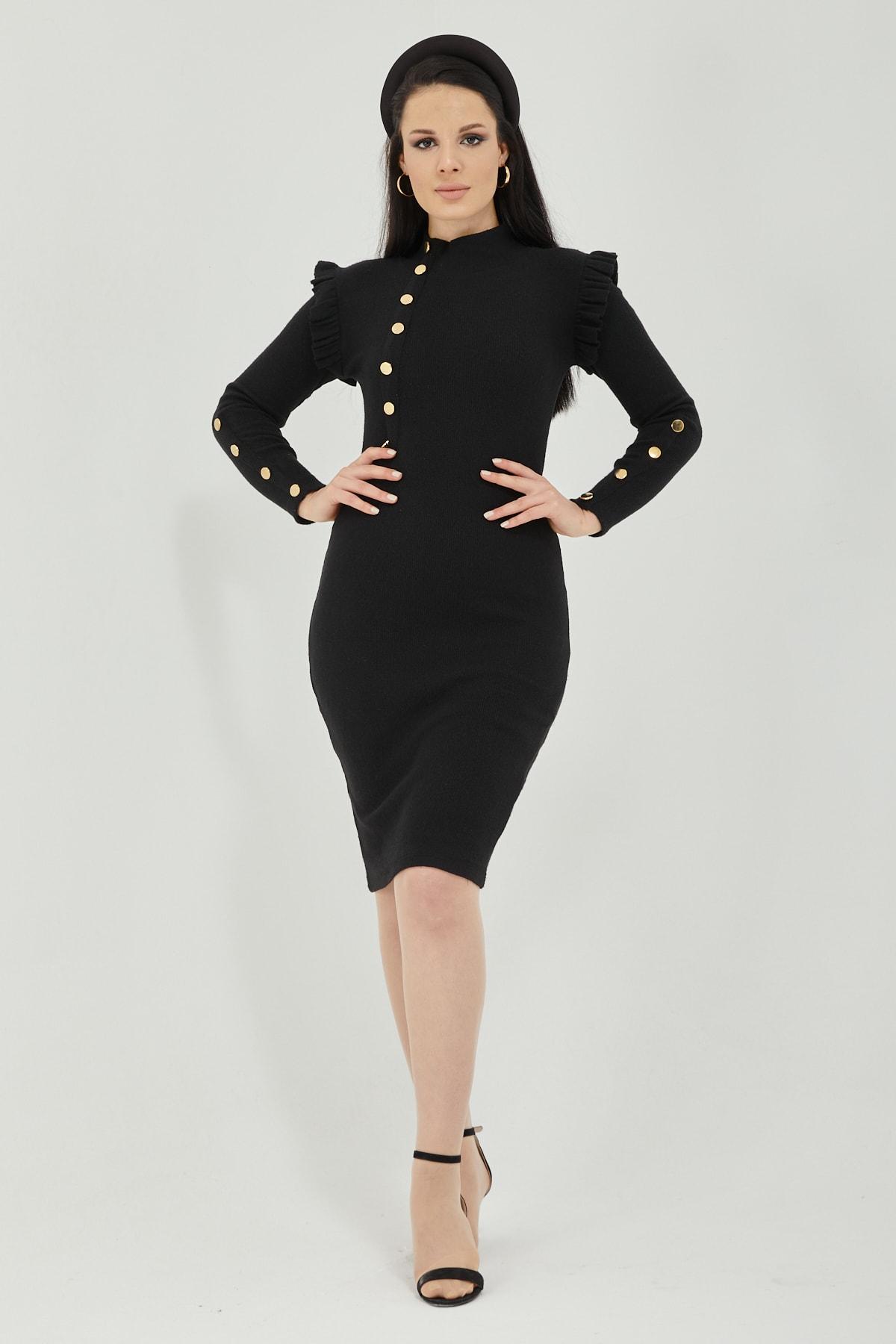 Qupa Butik Düğme Detaylı Prenses Omuz Kaşkorse Elbise 1