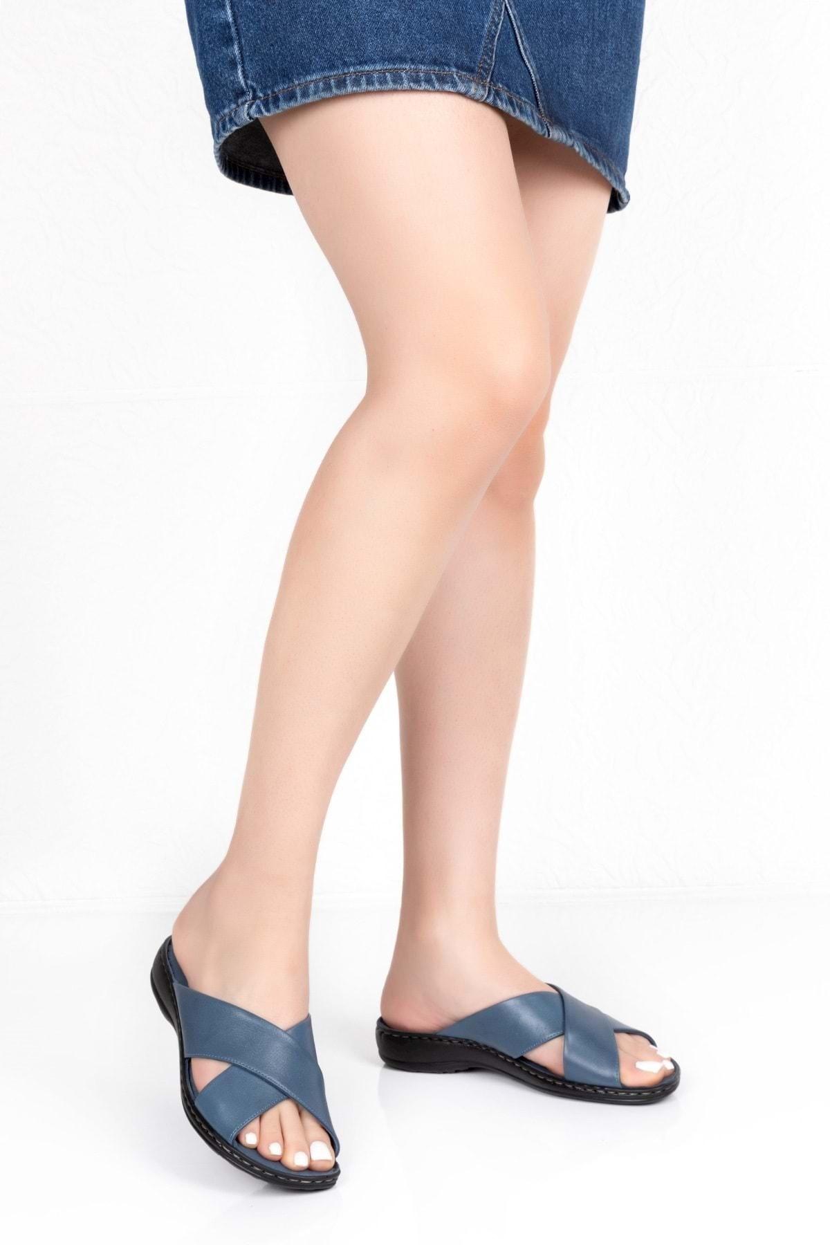 Gondol Kadın Mavi Hakiki Deri Ortopedik Taban Terlik Iz.023 1