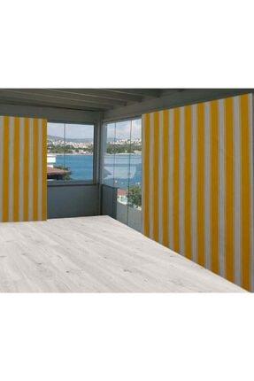 Evim Sarı Beyaz Çizgili Balkon Branda Perdesi 500/250