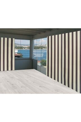 Evim Kahverengi Sarı Çizgili Balkon Branda Perdesi 750/250