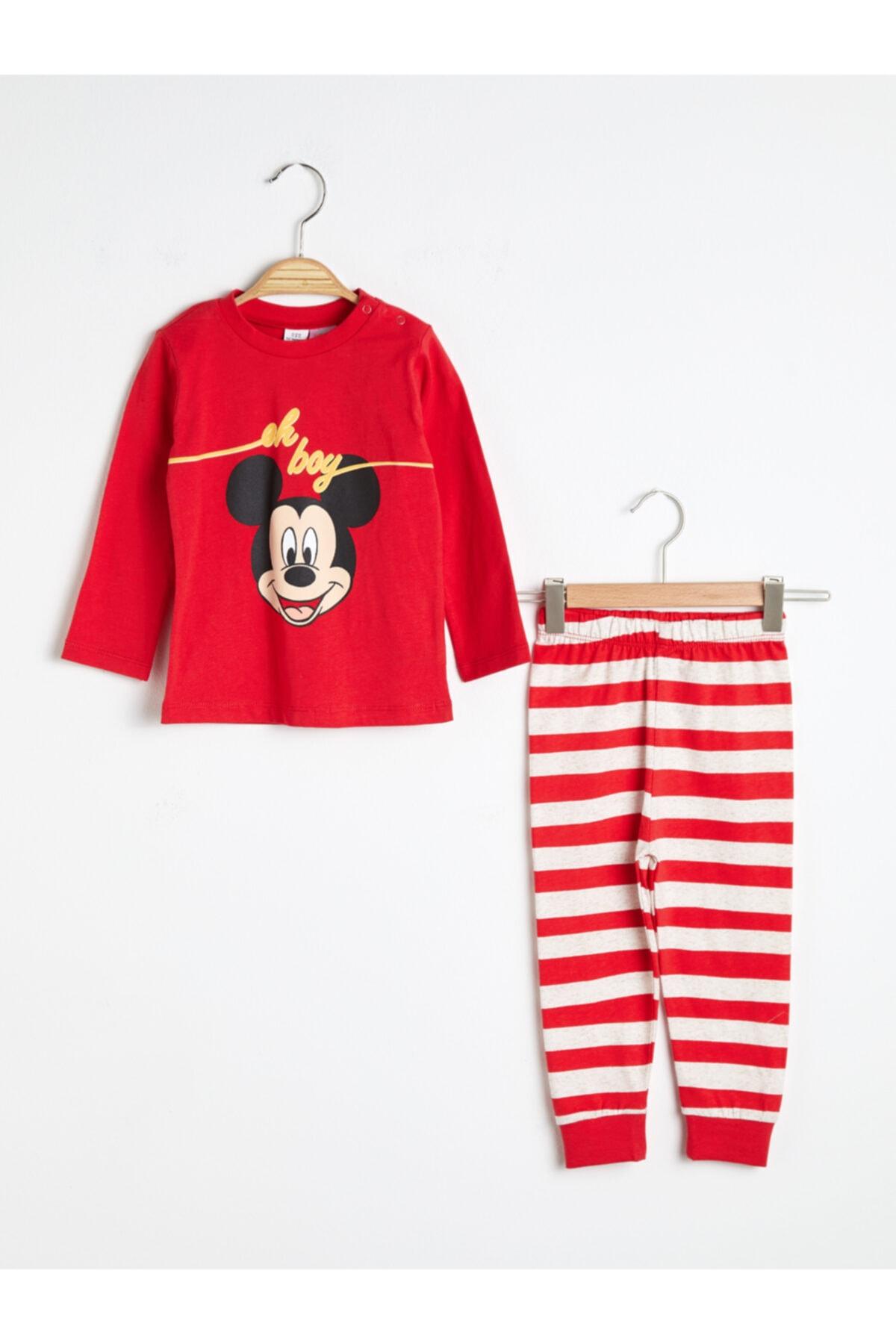 LC Waikiki Mickey Mouse Erkek Bebek Canlı Kırmızı Hc3 Pijama Takımı 1