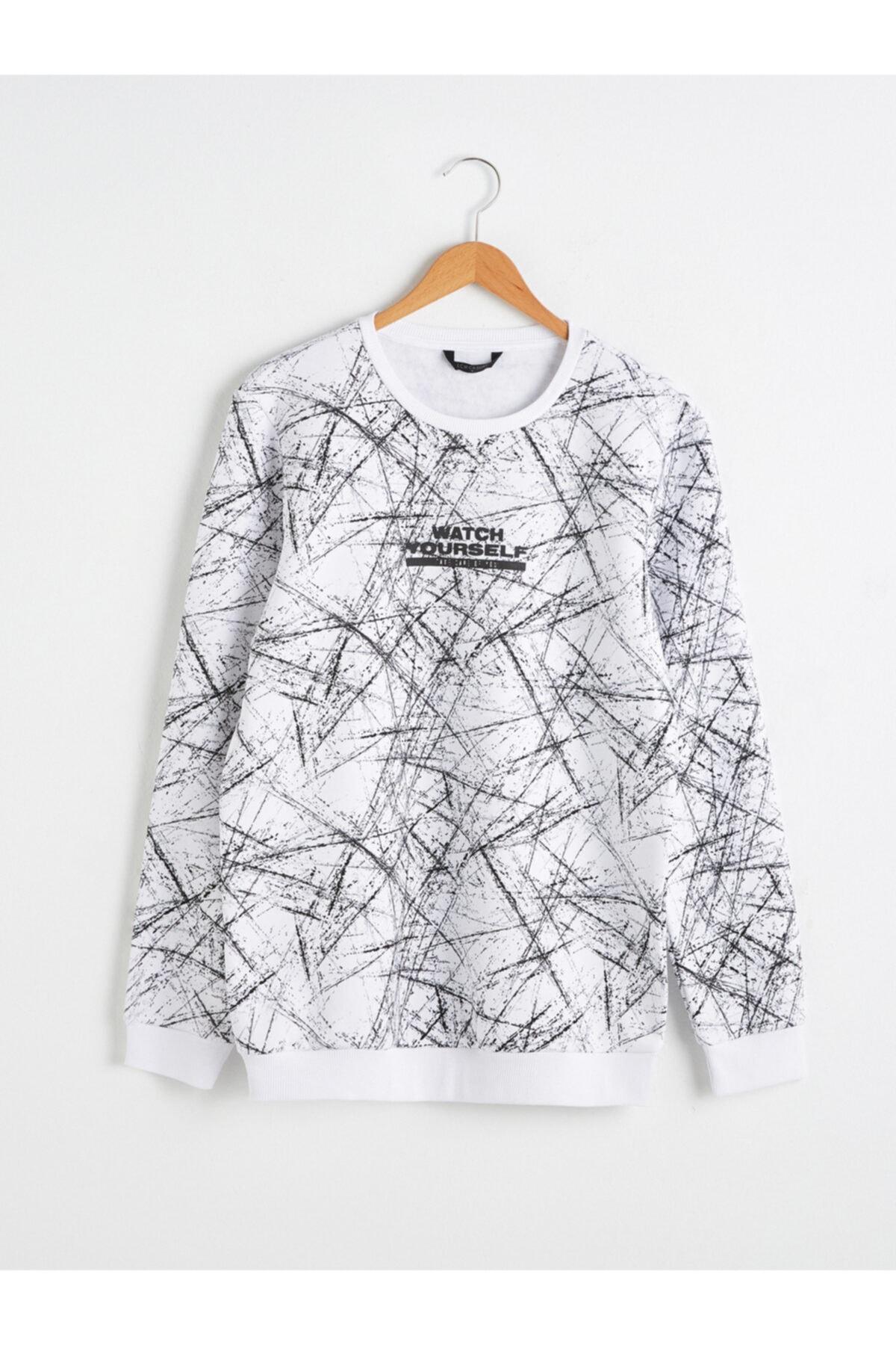 LC Waikiki Erkek Beyaz Baskılı Sweatshirt 1