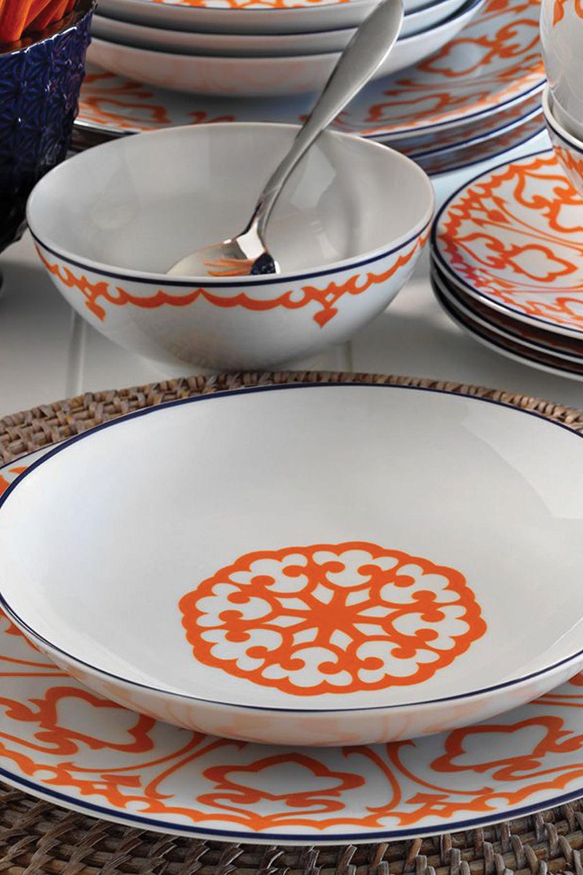Kütahya Porselen Turuncu Desenli 24 Parça Yemek Takımı 2