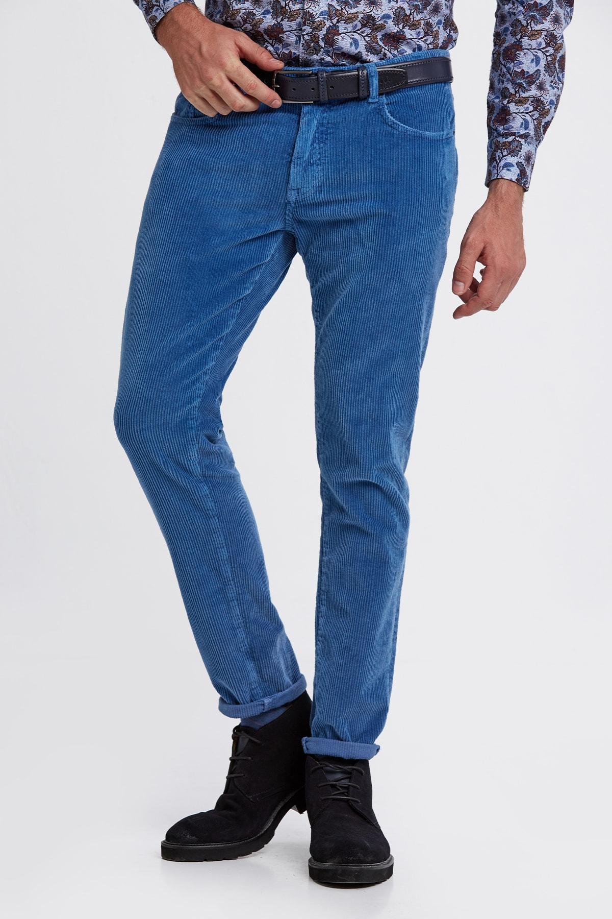 Hemington Erkek Mavi Slim Fit Koyu Kadife Pantolon 1