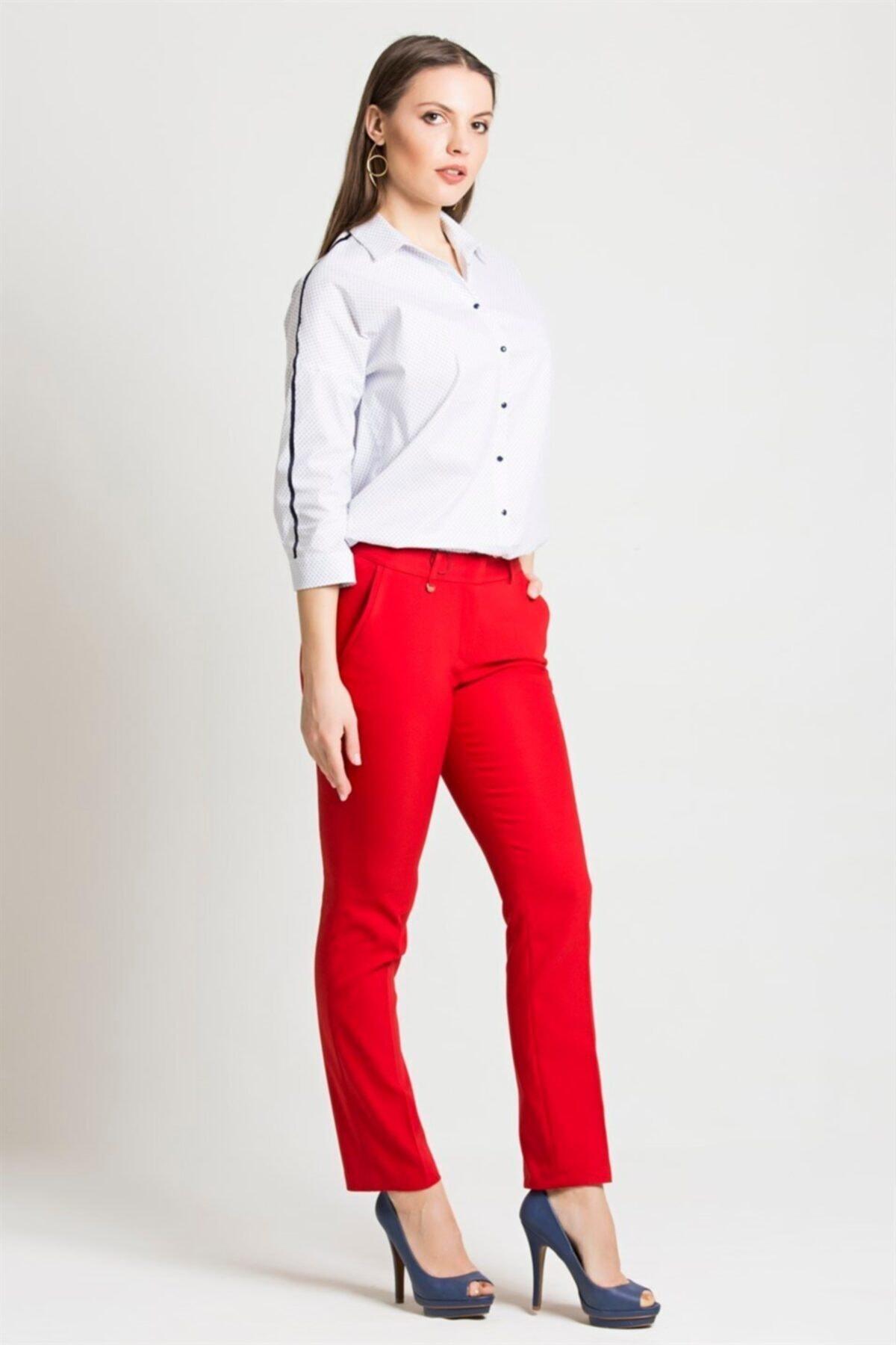 Chima Kadın Kırmızı Dar Paça Pantolon 1