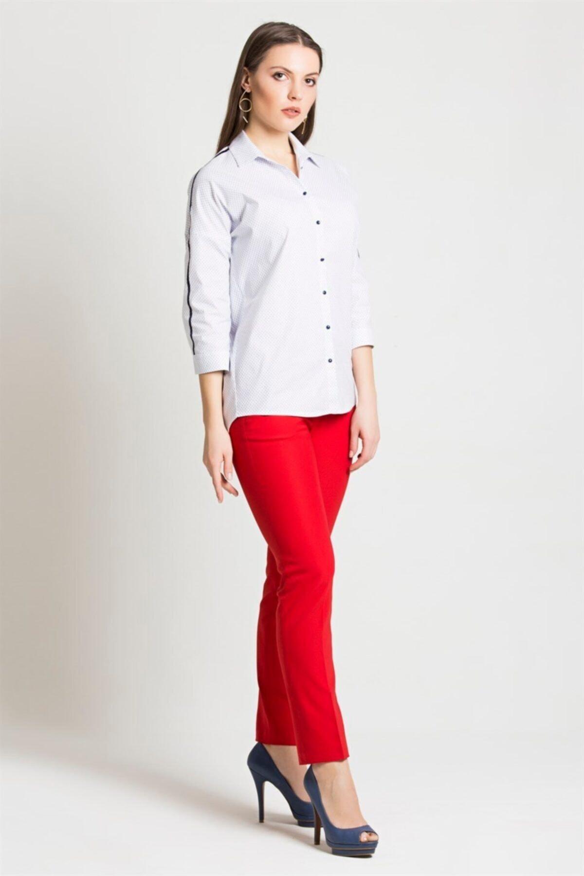 Chima Kadın Kırmızı Dar Paça Pantolon 2