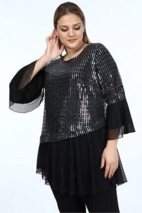 LİLAS XXL Kadın Gümüş Uzun Kollu Şifon Tunik