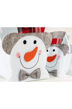 English Home Funny Snowman Keçe 2'li Sepet 15,5x8,5x18 Cm / 19x10,5x21 Cm Beyaz