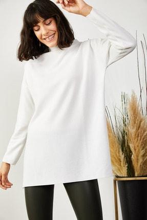 Olalook Kadın Beyaz Dik Yaka Yanı Yırtmaçlı Selanik Tunik TNK-19000072