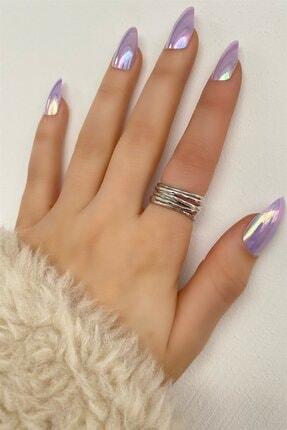 TAKIŞTIR Kadın Gümüş Renk Iki Şeritli Ayarlanabilir Yüzük