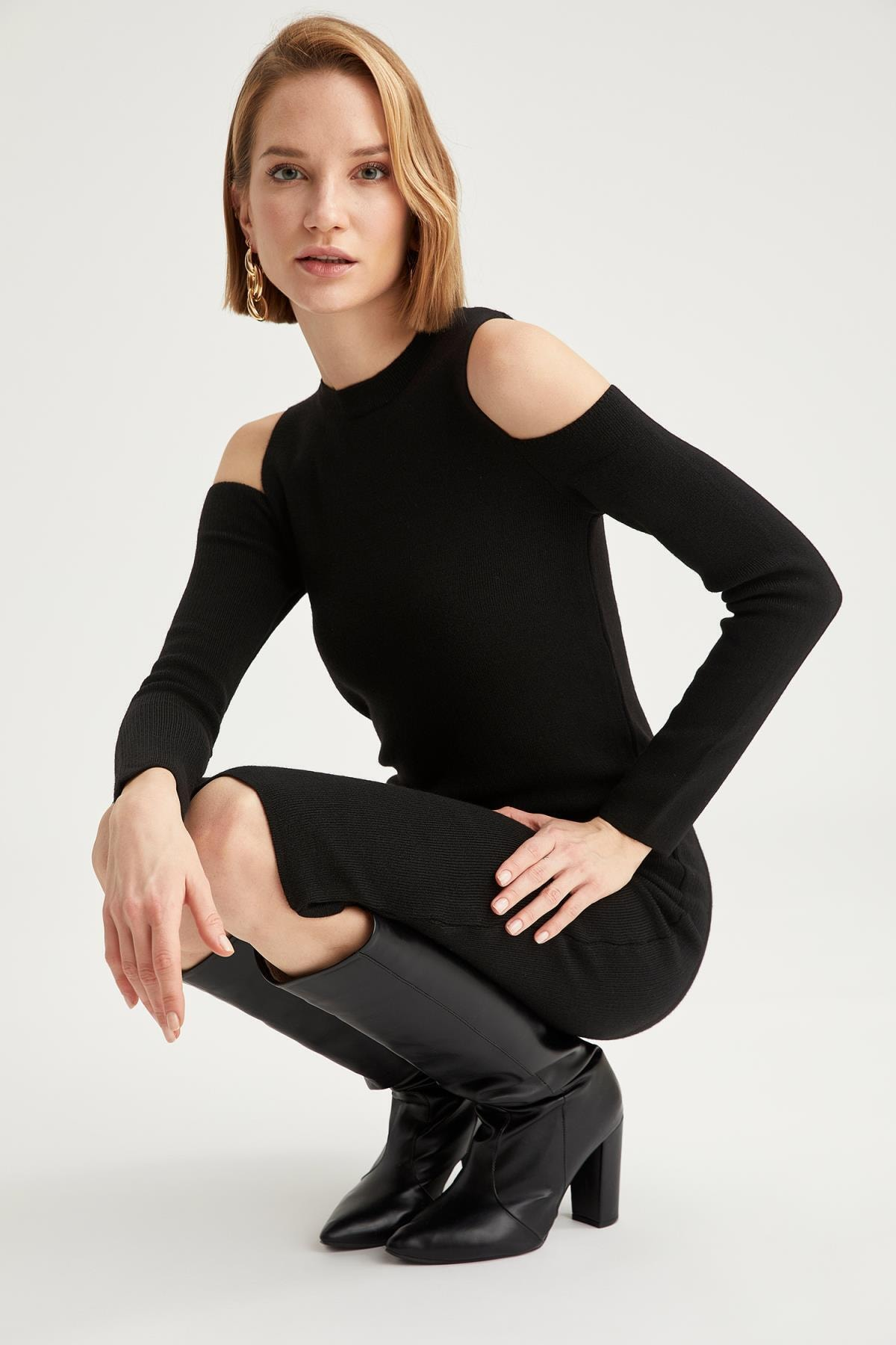 DeFacto Kadın Siyah Omuz Dekolteli Triko Elbise 2