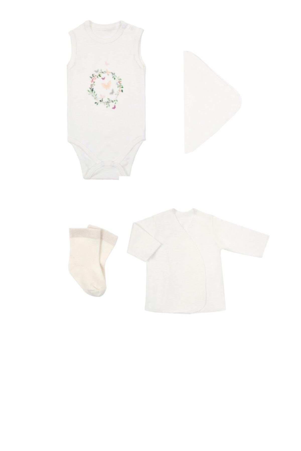 Lally Things Kız Bebek Beyaz Yenidoğan Kelebek Zıbın Set 1