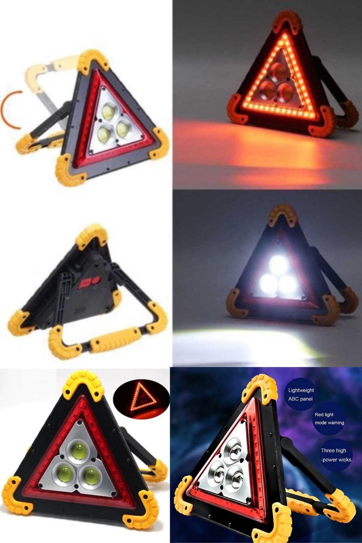 QNİAY Reflektör Usb-akıllı Şarj Işıklı Ikaz Lambası 3 Ledli Fener Trafik Acil Durum Kamp 2