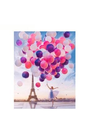 trend hobby Eyfel Kulesi, Kadın Ve Romantik Balonlar Sayılarla Boyama Hobi Seti 40x50 Cm (tuval Şasesine Gerili)