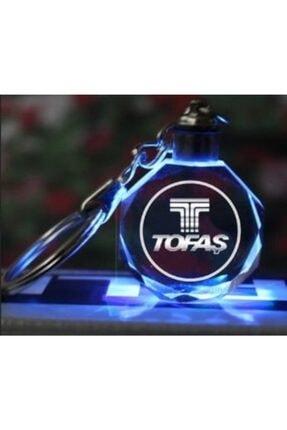 Tofaş Logolu Yedek Pil Hediyeli Led Işıklı 3d Kristal Araba Anahtarlık Yedek Pil Hediye