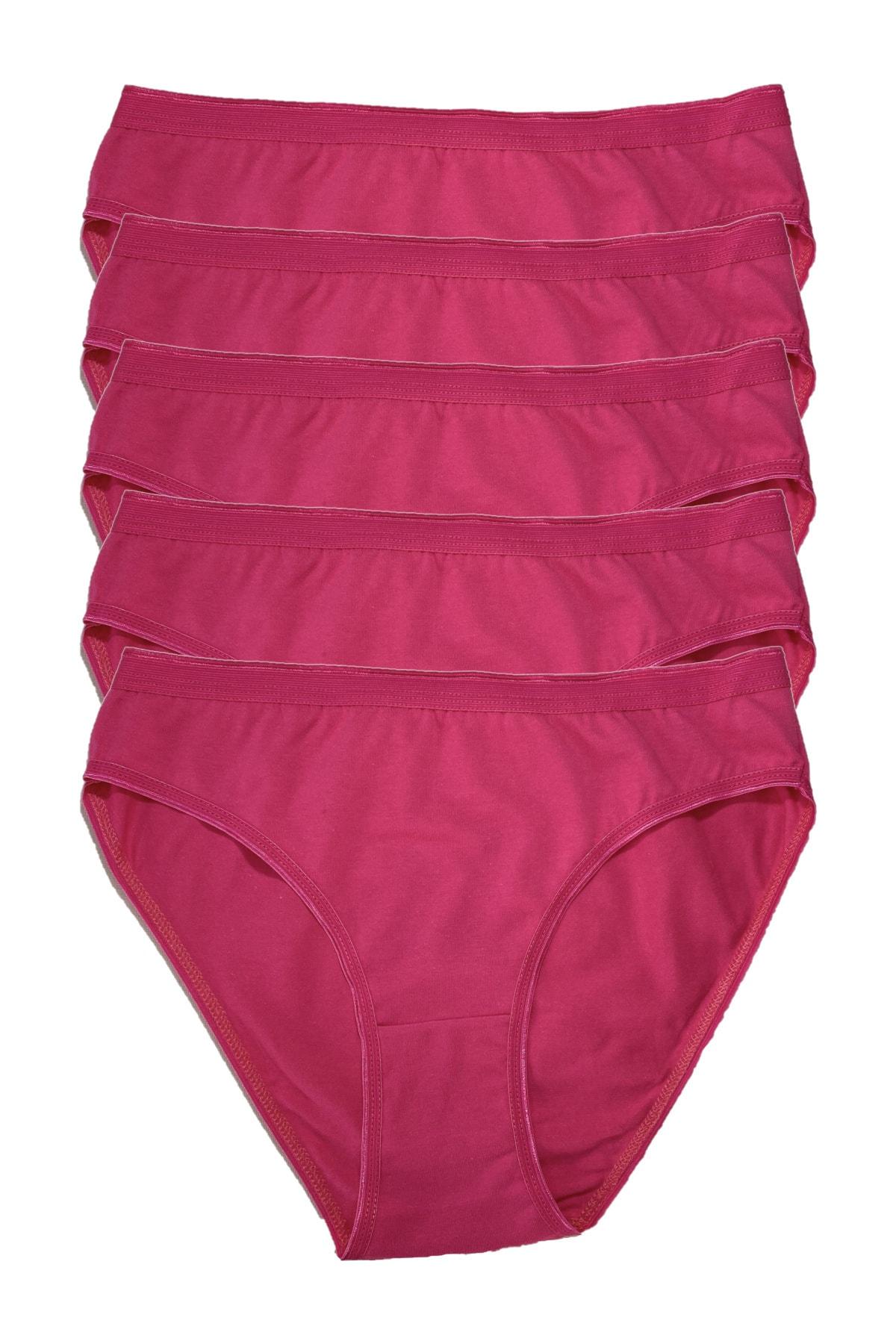 Tutku Kadın Penye Bikini 5li Külot Fuşya 1