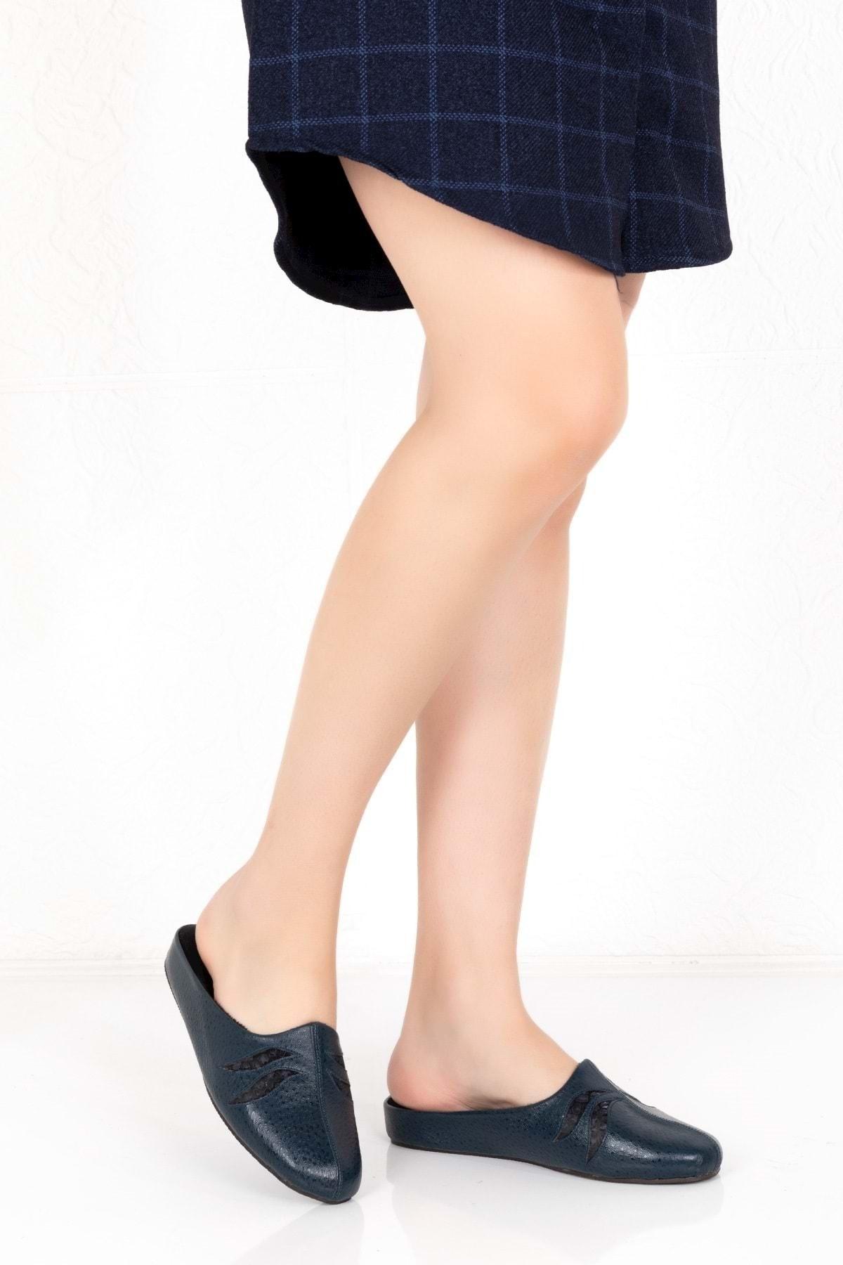 Gondol Kadın Lacivert Deri Comfort Ev Terliği Yprk.1001 1