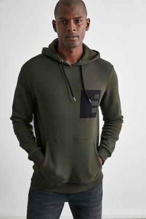 TRENDYOL MAN Haki Erkek Kapüşonlu Sweatshirt TMNAW21SW0638