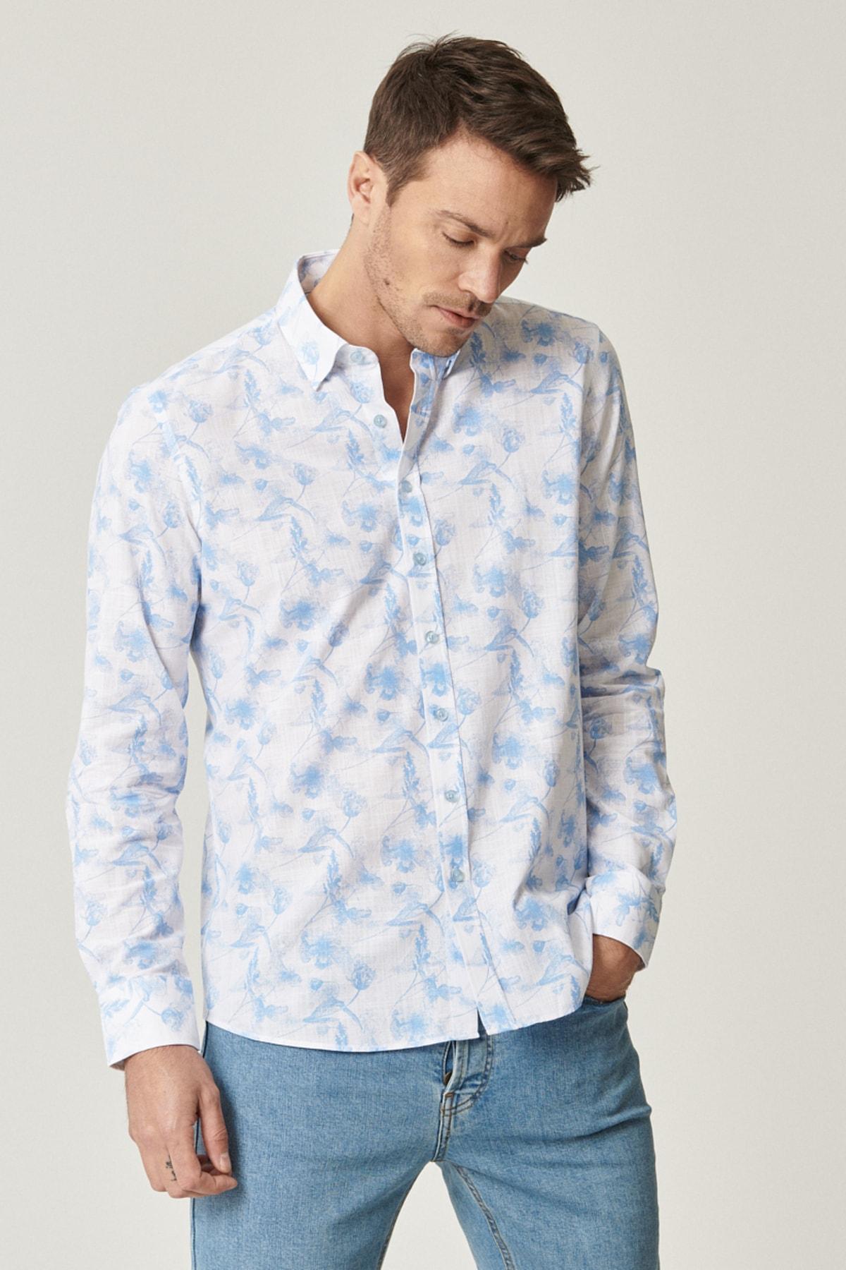 ALTINYILDIZ CLASSICS Erkek Beyaz-Mavi Baskılı Düğmeli Yaka Tailored Slim Fit Gömlek 1