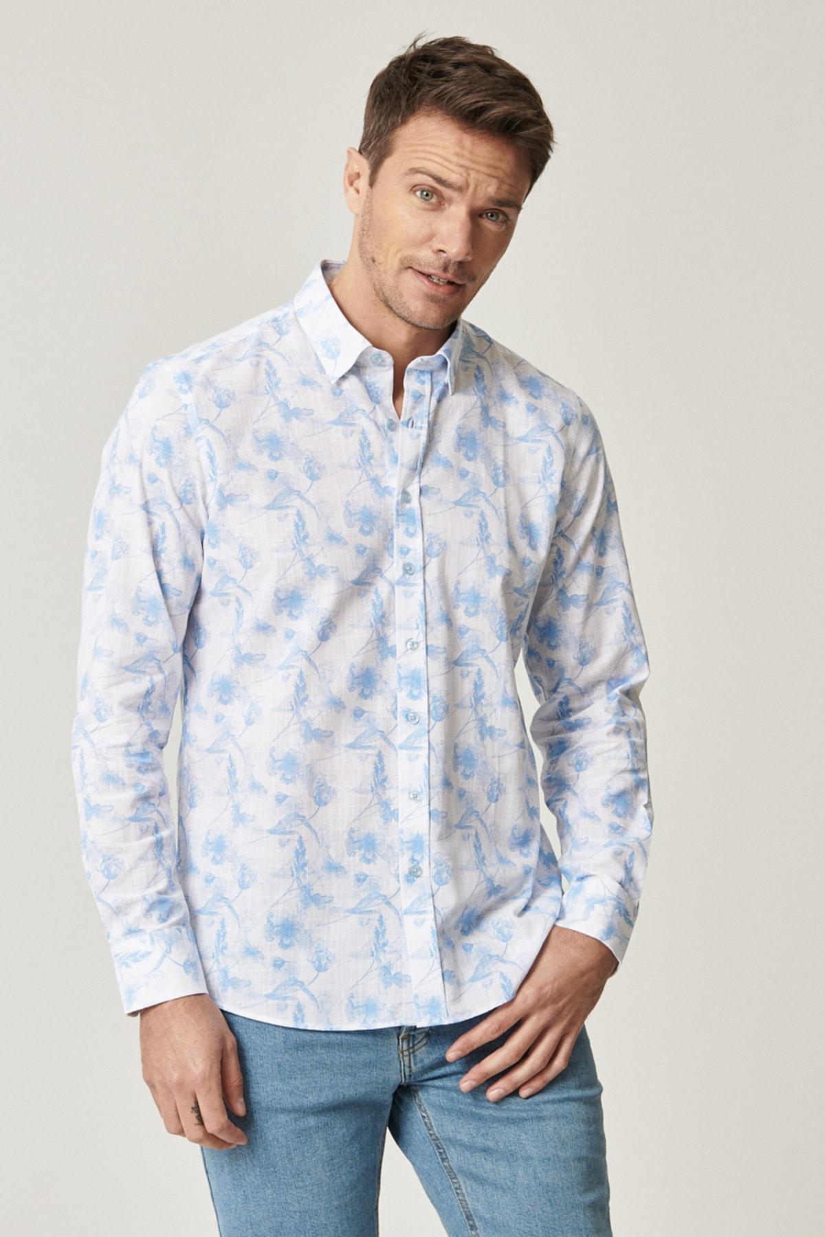 ALTINYILDIZ CLASSICS Erkek Beyaz-Mavi Baskılı Düğmeli Yaka Tailored Slim Fit Gömlek 2