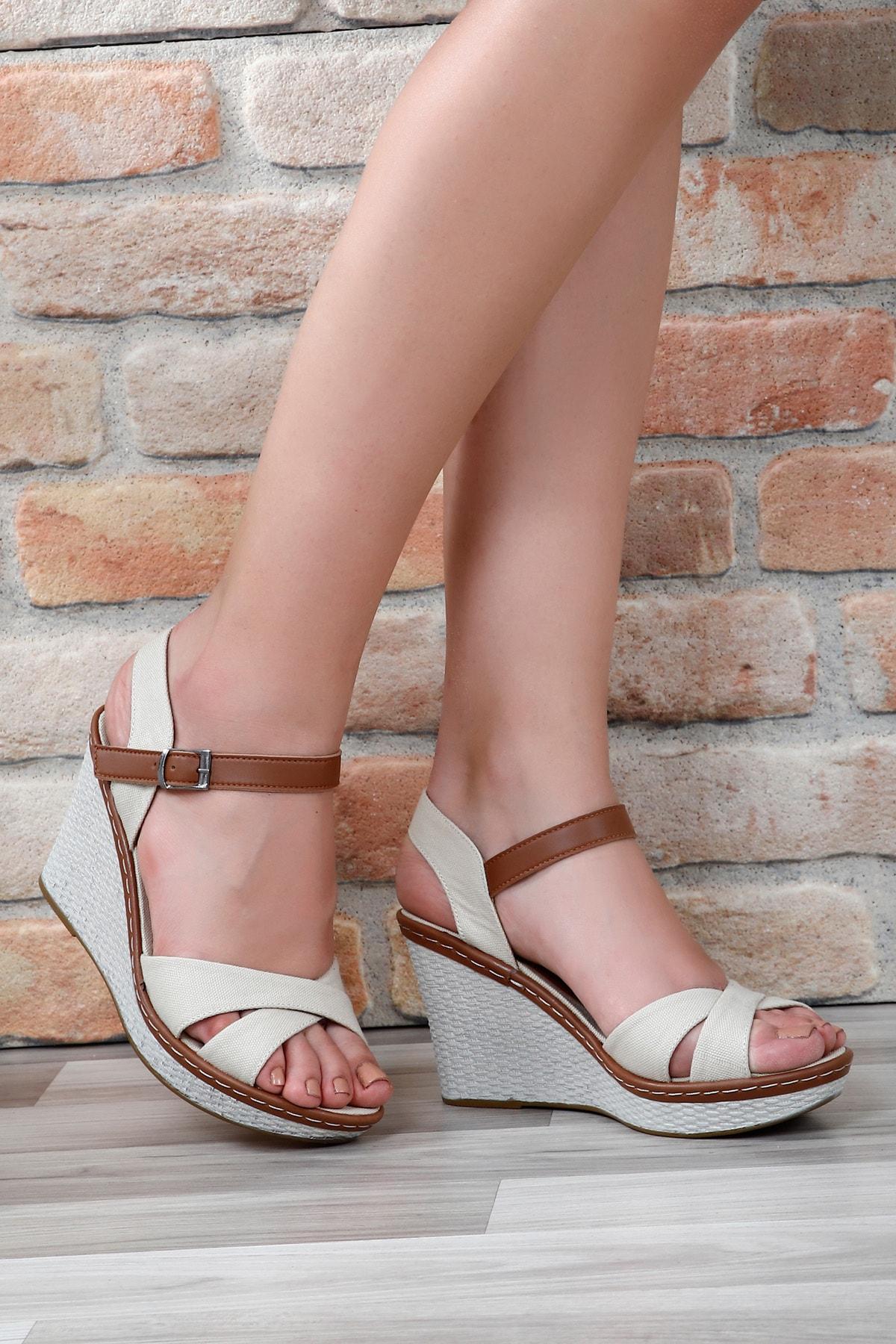 GÖNDERİ(R) Bej Keten Kadın Sandalet 37701 1