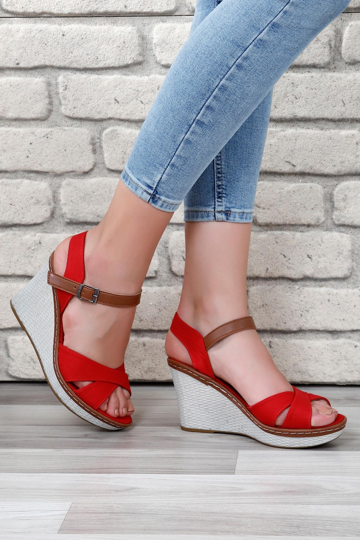 GÖNDERİ(R) Kırmızı Keten Kadın Sandalet 37701 1