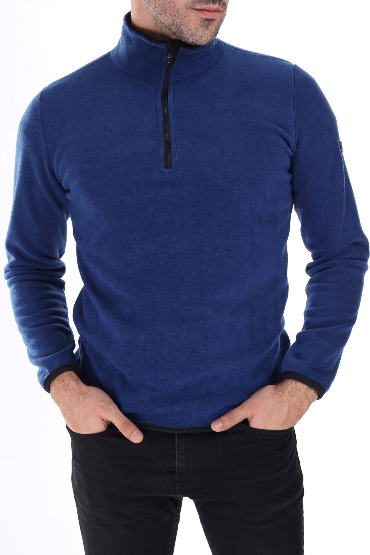 GHASSY CO. Erkek Mavi  Yarım Fermuarlı Polar